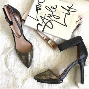 Jeffrey Campbell Solitaire Black Gold Heels